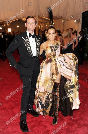"Hamish Bowles, left, and Sarah Jessica Parker at The Metropolitan Museum of Art Costume Institute gala benefit, ""Punk: Chaos to Couture"", in New York. The Metropolitan Museum of Art hosted a new Costume Institute exhibit, ""Punk: Chaos to Culture,"" celebrating a movement that embraced anarchy in the 1970s"