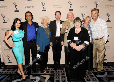 Stock Picture of AUGUST 22: (L-R) Actors Romi Dames, Ajay Mehta, Mimi Cozzens, Bob Bergen, Governors' Appointee Conrad Bachman, Wendy Worthington, Governor, Academy of Television Arts & Sciences Kathryn Joosten and actor Fred Willard arrive at the Academy of Television Arts & Sciences 'Performers Peer Group Reception' at the Sheraton Universal Hotel on in Universal City, California