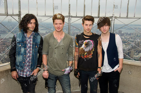 Stock Picture of Hot Chelle Rae members, left to right, Ian Keaggy, Nash Overstreet, Ryan Follese and Jamie Follese visit the Empire State Building's 86th floor observatory, in New York