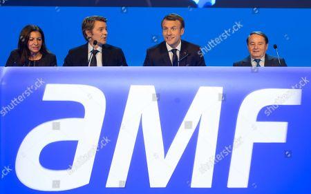 Stock Picture of Anne Hidalgo, Francois Baroin, Emmanuel Macron and Andre Laignel.