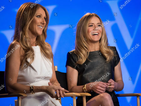 Celine Dion, left, and Veronic DiCaire speak during an interview at the Jubilee Theatre on in Las Vegas. Celine Dion is throwing her star power behind a fellow French Canadian songstress Veronic DiCaire, who is setting up shop across the street in Las Vegas