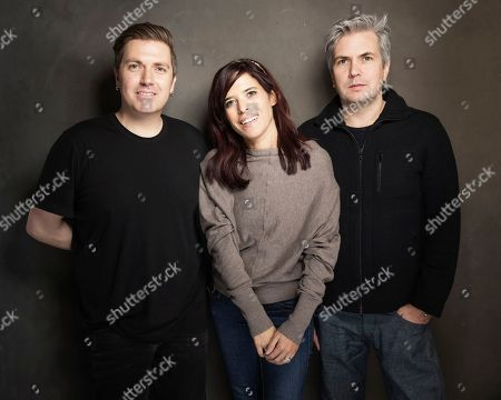 From left, Pasquale Rotella, Jane Lipsitz and Dan Cutforth pose for a portrait at Quaker Good Energy Lodge with GenArt and the Collective, during the Sundance Film Festival, on in Park City, Utah