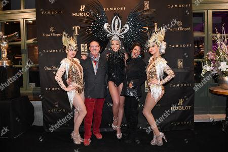 Otto Retzer with wife Shirley with Samba dancers