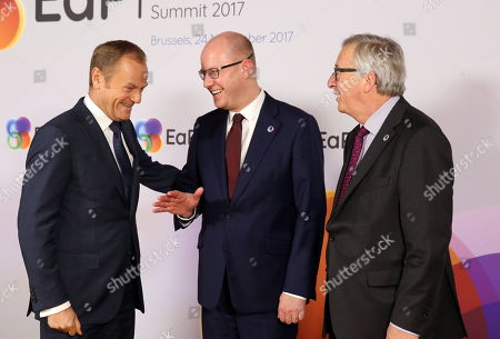 Stock Image of (L-R) European Council President Donald Tusk, Czech Republic's Prime Minister Bohuslav Sobotka, and European Commission President Jean-Claude Juncker during EU?s Eastern Partnership (EaP) Summit arrival in Brussels, Belgium, 24 November 2017. The summit brings together EU heads of states or government with six former Soviet states Armenia, Azerbaijan, Belarus, Georgia, Moldova and Ukraine.