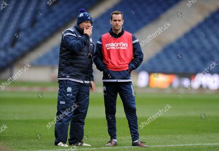 Matt Taylor - Scotland assistant coach and Chris Paterson - specialist kicking coach (R)