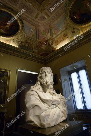 A sculpture entitled Salvator Mundi by Gian Lorenzo Bernini at Galleria Borghese in Rome