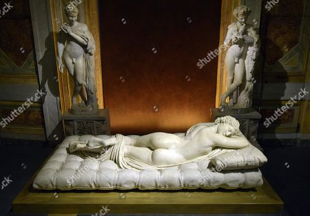A sculpture entitled Sleeping Hermaphroditos by Gian Lorenzo Bernini at Galleria Borghese in Rome