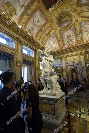 A sculpture entitled The Rape of Proserpina by Gian Lorenzo Bernini at Galleria Borghese in Rome