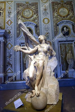 A sculpture entitled The revealed truth by Gian Lorenzo Bernini at Galleria Borghese in Rome