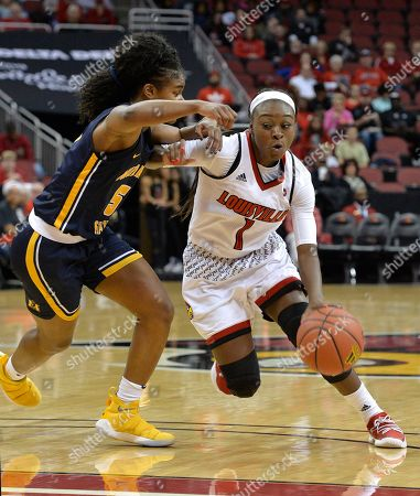 Dana Evans, Jasmine Borders. Louisville guard Dana Evans (1) attempts to drive past the defense of Murray State guard Jasmine Borders (5) during the first half of an NCAA college basketball game, in Louisville, Ky