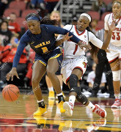 Dana Evans, Ke'Shunan James. Murray State forward Ke'Shunan James (2) battles Louisville guard Dana Evans (1) for the ball during the second half of an NCAA college basketball game, in Louisville, Ky. Louisville won 115-51