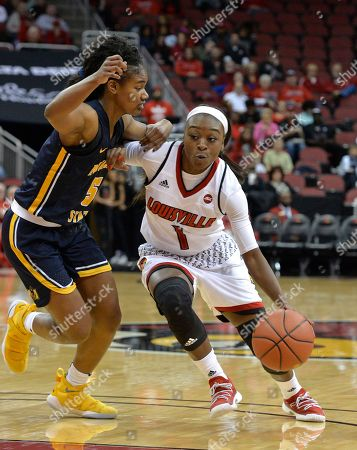 Stock Image of Dana Evans, Jasmine Borders. Louisville guard Dana Evans (1) drives against the defense of Murray State guard Jasmine Borders (5) during the first half of an NCAA college basketball game, in Louisville, Ky