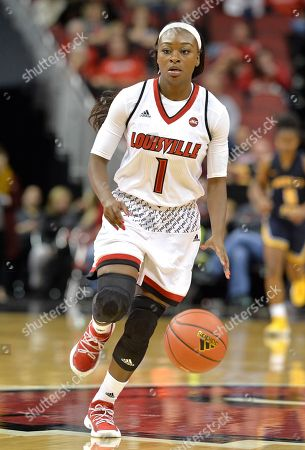 Louisville guard Dana Evans (1) in action during the second half of an NCAA college basketball game, in Louisville, Ky. Louisville won 115-51