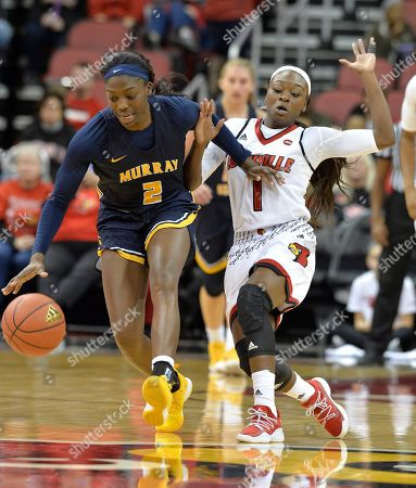 Ke'Shunan James, Dana Evans. Murray State forward Ke'Shunan James (2) battles Louisville guard Dana Evans (1) for a loose ball during the second half of an NCAA college basketball game, in Louisville, Ky. Louisville won 115-51