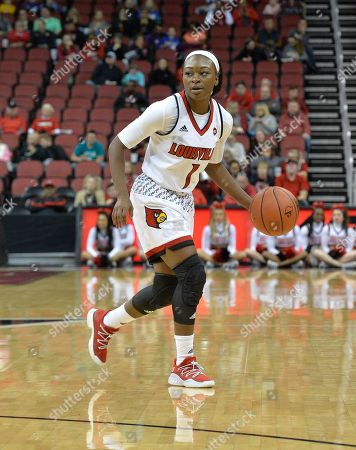 Stock Photo of Louisville guard Dana Evans (1) in action during the second half of an NCAA college basketball game, in Louisville, Ky. Louisville won 115-51