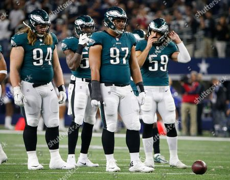 Beau Allen,Nigel Bradham, Destiny Vaeao, Joe Walker. Philadelphia Eagles defensive tackle Beau Allen (94), outside linebacker Nigel Bradham (53), defensive tackle Destiny Vaeao (97) and inside linebacker Joe Walker (59) prepare to defend the Dallas Cowboys during an NFL football game, in Arlington, Texas
