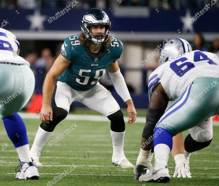 Philadelphia Eagles inside linebacker Joe Walker (59) defends against the Dallas Cowboys during an NFL football game, in Arlington, Texas