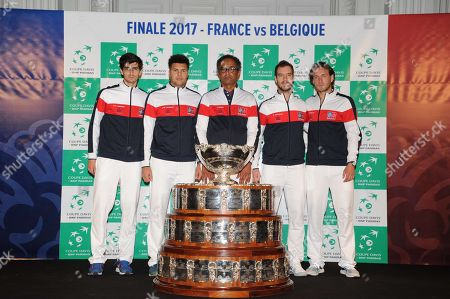 Presentation of the French Davis cup team with tennis players Pierre Hugues Herbert, Jo-Wilfried Tsonga, Captain Yannick Noah, Richard Gasquet and Lucas Pouille