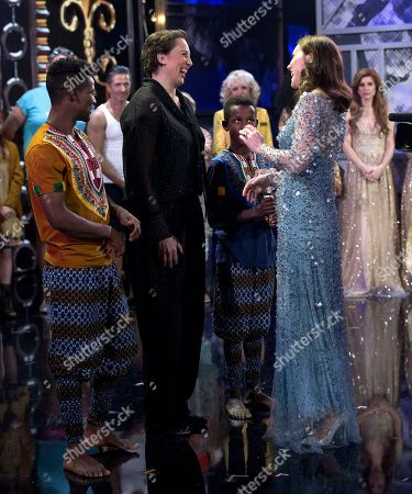 Miranda Hart with Catherine Duchess of Cambridge on stage