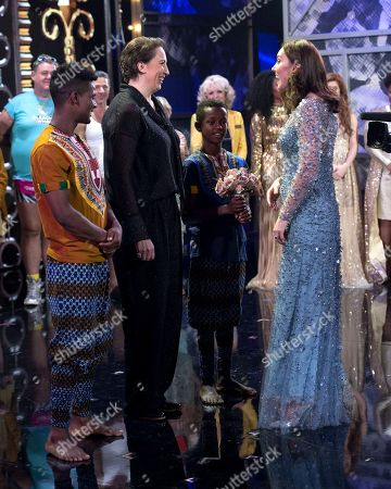 Stock Photo of Miranda Hart with Catherine Duchess of Cambridge on stage