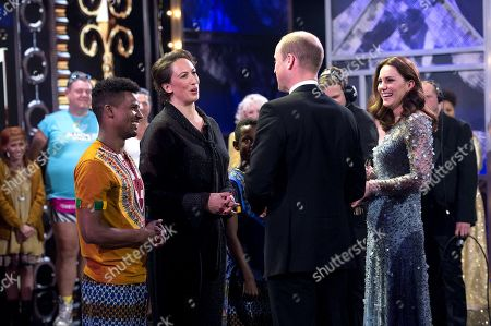 Stock Picture of Miranda Hart with Prince William and Catherine Duchess of Cambridge on stage