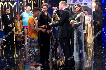 Stock Image of Miranda Hart with Prince William and Catherine Duchess of Cambridge on stage