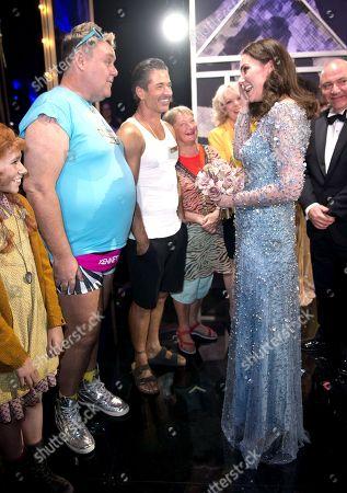 Tony Maudsley, Jake Canuso, Janine Duvitski with Catherine Duchess of Cambridge on stage