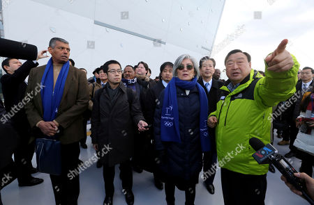 Lee Hee-beom, Vincent Brooks, Kang Kyung-wha, Natsuo Yamaguchi. U.S. Gen. Vincent Brooks, left, commander of Combined Forces Command, South Korean Foreign Minister Kang Kyung-wha, third from right, and Natsuo Yamaguchi, second from right, head of the Komeito party that forms a governing coalition with Japanese Prime Minister Shinzo Abe's Liberal Democratic Party, are briefed by Lee Hee-beom, right, president of the Pyeongchang Organizing Committee for the 2018 Olympic and Paralympic Winter Games at the Gangneung Olympic Park in Gangneung, South Korea, . South Korea's Pyeongchang is the host city of the 2018 Olympic and Paralympic Winter Games which will be held from February 2018
