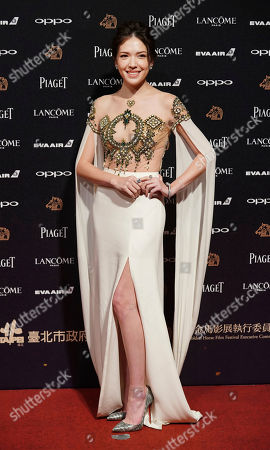 "Taiwanese actress Hsu Wei Ning arrives at the 54th Golden Horse Awards in Taipei, Taiwan, . Hsu is nominated for Best Supporting Actress for the film ""The Tag-Along 2"" at this year's Golden Horse Awards -one of the Chinese-language film industry's biggest annual events"