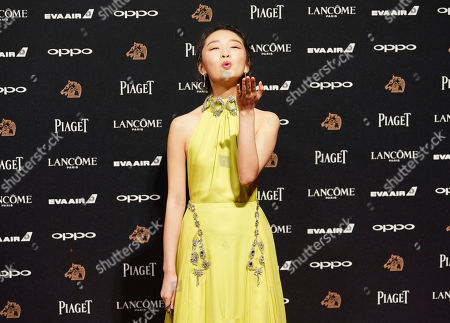 Chinese actress Zhou Dongyu poses on the red carpet at the 54th Golden Horse Awards in Taipei, Taiwan, . Zhou is the guest at this year's Golden Horse Awards, one of the Chinese-language film industry's biggest annual events