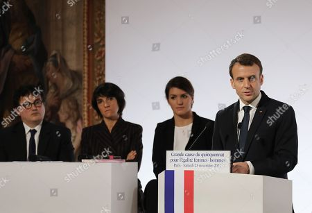 French President Emmanuel Macron (R) stands next to French Junior Minister for Gender Equality Marlene Schiappa (2-R), French humorist and patron of association 'Women Safe' Florence Foresti   and French writer, activist and specialist of emergency medical services Patrick Pelloux (L) as he delivers a speech during the International Day for the Elimination of Violence Against Women, at the Elysee Palace in Paris, France, 25 November 2017. The United Nations General Assembly has designated November 25 as the International Day for the Elimination of Violence Against Women in an effort to raise awareness of the fact that women around the world are subject to rape, domestic violence and other forms of violence.