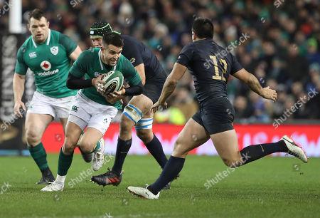 Ireland vs Argentina. Ireland's Conor Murray with Santiago Gonzalez Iglesias of Argentina