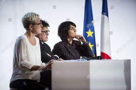 French actress Florence Foresti, right, doctor Patrick Pelloux and Sabine Salmon during a meeting