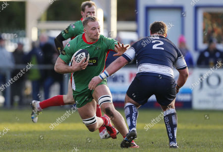 Samuel Holmes of Plymouth Albion hands off Scott Tolmie of Coventry during the National Division 1 match between Coventry v Plymouth Albion at the Butts Park Arena, on November 25th 2017, Coventry, West Midlands, UK.
