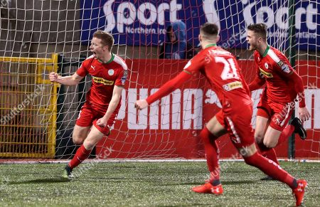 Cliftonville vs Ballymena. Cliftonville's Stephen Garrett scores the only goal of the match