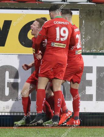 Cliftonville vs Ballymena. Cliftonville's Stephen Garrett scores the only goal of the match against Ballymena
