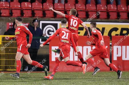 Cliftonville vs Ballymena. Cliftonville's Stephen Garrett celebrates