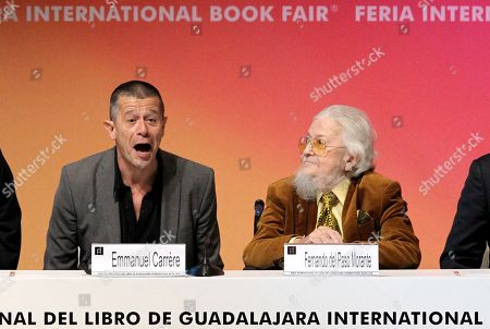 French writer Emmanuel Carrere (L), who received the FIL Award of Romance Languages, and Mexican writer Fernando del Paso (R) participate in the opening of the International Book Fair (FIL) of Guadalajara, Jalisco, Mexico, 25 November 2017. The 31st edition of the FIL has Madrid as guest of honor.