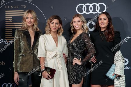 Stock Picture of (L-R) German model Mandy Bork, fashion blogger Aylin Koening, model Scarlett Gartmann and fashion blogger Laura Noltemeyer arrive for the Place To B Award 2017 at Axel Springer SE in Berlin, Germany, 25 November 2017. The award is for the most important social media celebrities, bloggers and YouTube creators.