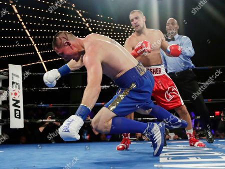 Sergey Kovalev, Vyacheslav Shabranskyy. Russia's Sergey Kovalev knocks down Ukraine's Vyacheslav Shabranskyy during the first round of a light heavyweight title boxing match, in New York. Kovalev stopped Shabranskyy in the second round