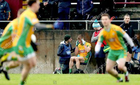 Castlebar Mitchels vs Corofin. Corofin's Kieran Fitzgerald injured