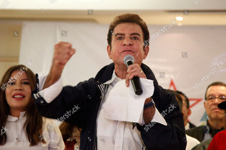 Opposition Alliance presidential candidate Salvador Nasralla speaks to supporters during a meeting in Tegucigalpa, Honduras, . Honduran President Juan Orlando Hernandez, a conservative U.S. ally, appeared likely to win a second term despite opposition claims that his re-election is an unconstitutional power grab