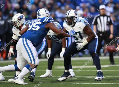 Quinton Spain, Johnathan Hankins. Tennessee Titans offensive guard Quinton Spain (67) sets to block Indianapolis Colts defensive end Johnathan Hankins (95) during an NFL football game, in Indianapolis. The Titans won the game 20-16