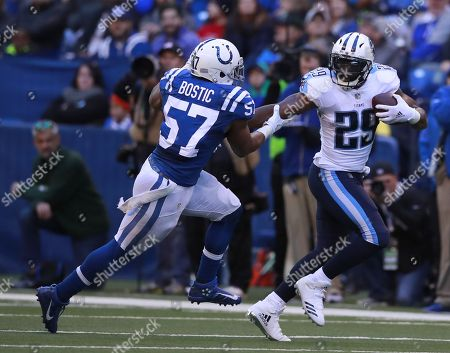 DeMarco Murray, Jon Bostic. Tennessee Titans running back DeMarco Murray (29) tries to avoid Indianapolis Colts inside linebacker Jon Bostic (57) during an NFL football game, in Indianapolis. The Titans won the game 20-16