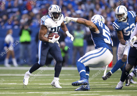 Tennessee running back DeMarco Murray (29) runs with the ball as Indianapolis Colts linebacker Jon Bostic (57) pursues during NFL football game action between the Tennessee Titans and the Indianapolis Colts at Lucas Oil Stadium in Indianapolis, Indiana. Tennessee defeated Indianapolis 20-16
