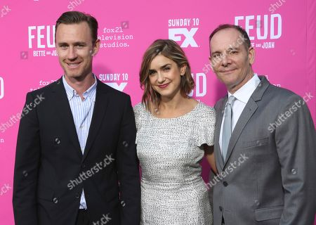"""John J. Gray, from left, Gina Welch and Tim Minear arrive at the """"Feud: Bette and Joan"""" FYC screening at The Ebell of Los Angeles on"""