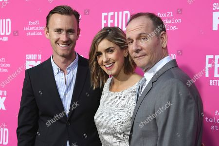 """Stock Photo of John J. Gray, from left, Gina Welch and Tim Minear arrive at the """"Feud: Bette and Joan"""" FYC screening at The Ebell of Los Angeles on"""
