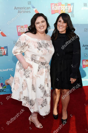 """Maddie Baillio, left, a cast member in the NBC television special """"Hairspray Live!"""", and event moderator Ricki Lake pose together at an Emmy For Your Consideration event for the show at the Television Academy, in Los Angeles"""
