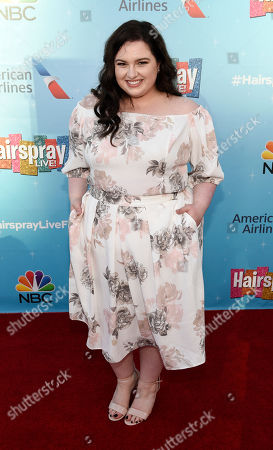 """Maddie Baillio, a cast member in the NBC television special """"Hairspray Live!"""", poses at an Emmy For Your Consideration event for the show at the Television Academy, in Los Angeles"""