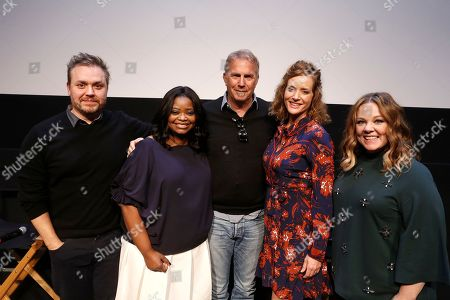 """Writer/Director Theodore Melfi, Octavia Spencer, Kevin Costner, Kimberly Quinn and Melissa McCarthy seen at """"Hidden Figures"""" Screening Hosted by Melissa McCarthy at the United Talent Agency, in Beverly Hills, Calif"""